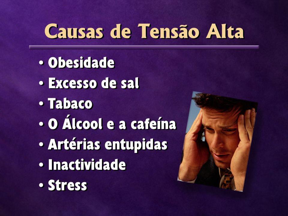 Obesidade Excesso de sal Tabaco O Álcool e a cafeína Artérias entupidas Inactividade Stress Causas de Tensão Alta