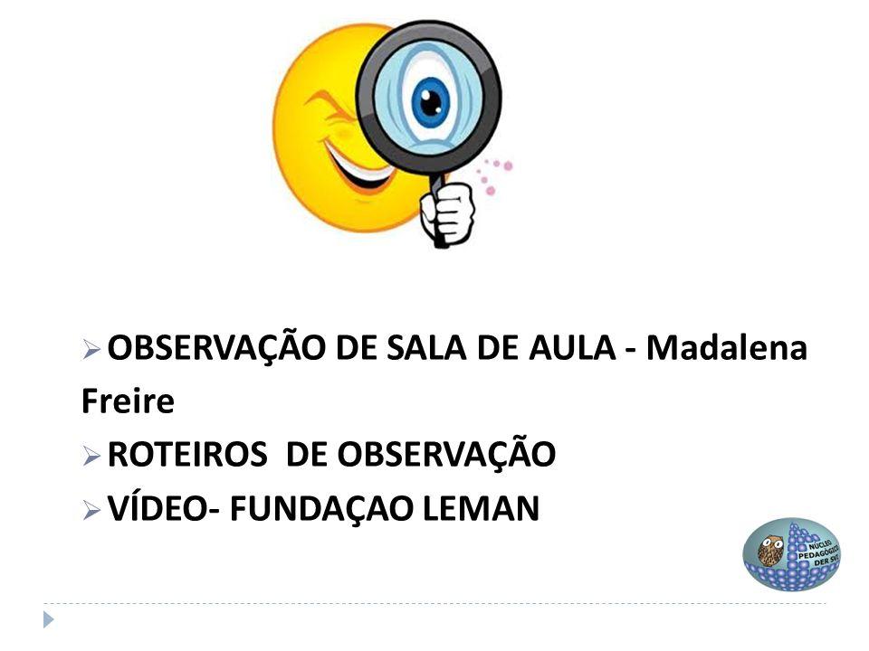  OBSERVAÇÃO DE SALA DE AULA - Madalena Freire  ROTEIROS DE OBSERVAÇÃO  VÍDEO- FUNDAÇAO LEMAN
