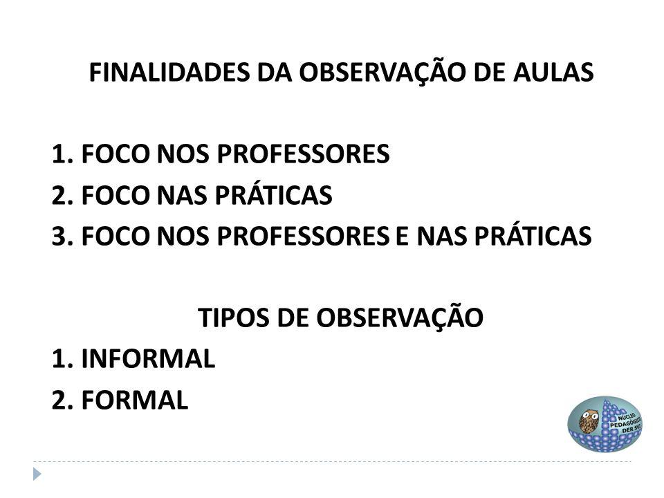 FINALIDADES DA OBSERVAÇÃO DE AULAS 1. FOCO NOS PROFESSORES 2. FOCO NAS PRÁTICAS 3. FOCO NOS PROFESSORES E NAS PRÁTICAS TIPOS DE OBSERVAÇÃO 1. INFORMAL
