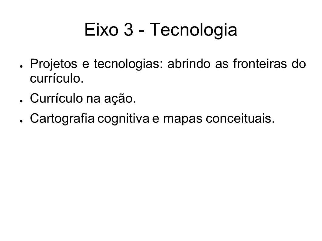 Eixo 3 - Tecnologia ● Projetos e tecnologias: abrindo as fronteiras do currículo.