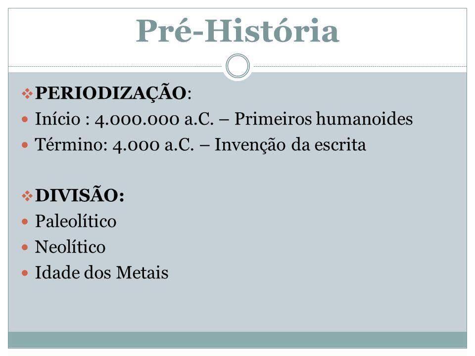 Pré-História  PERIODIZAÇÃO: Início : 4.000.000 a.C.