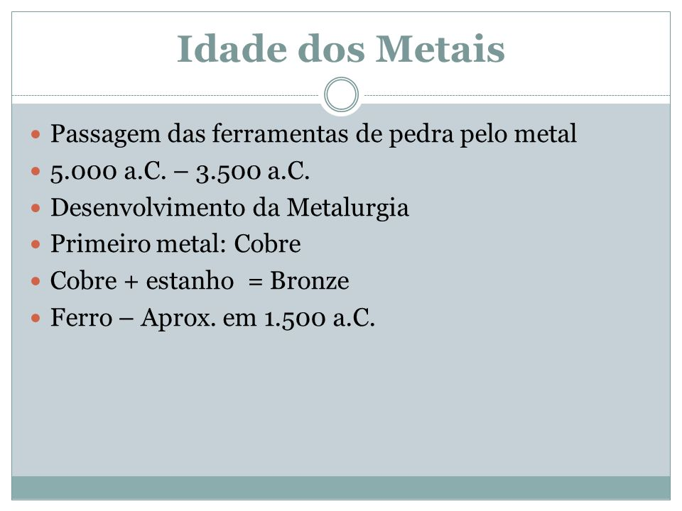 Idade dos Metais Passagem das ferramentas de pedra pelo metal 5.000 a.C.