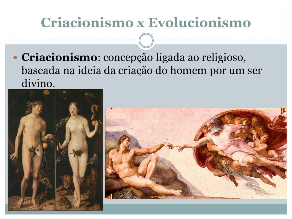 Criacionismo x Evolucionismo Criacionismo: concepção ligada ao religioso, baseada na ideia da criação do homem por um ser divino.