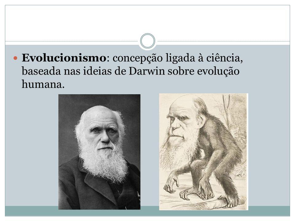 Evolucionismo: concepção ligada à ciência, baseada nas ideias de Darwin sobre evolução humana.