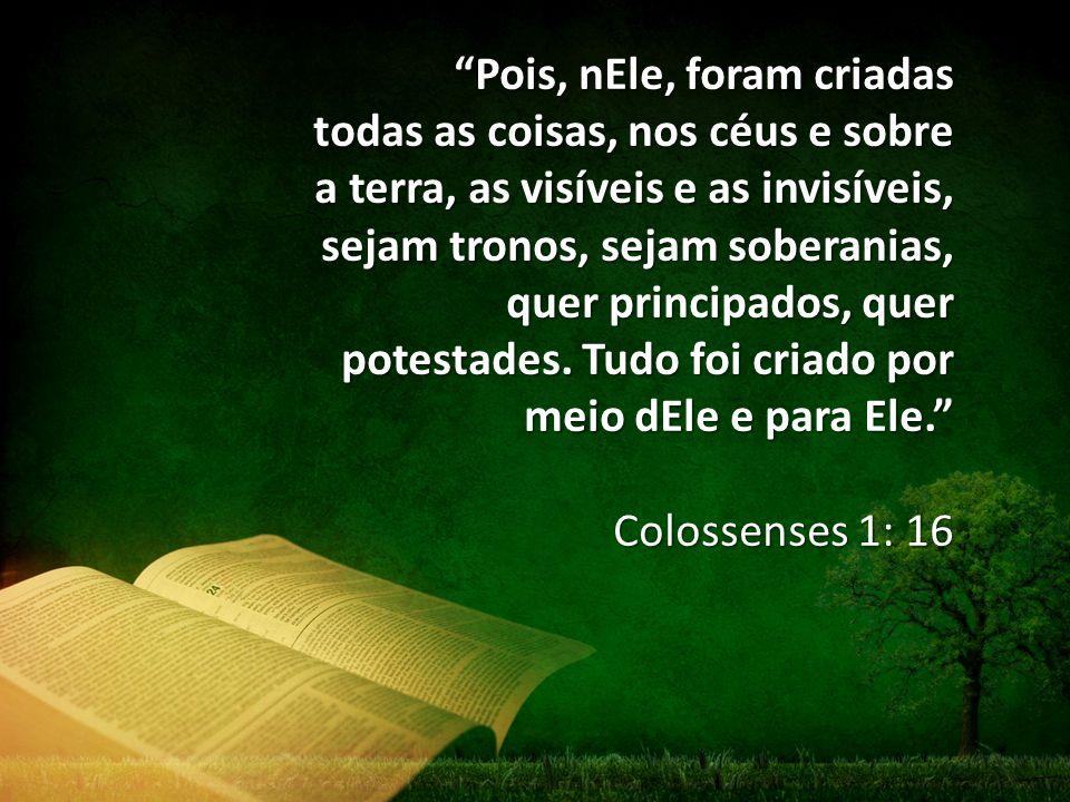 Pois, nEle, foram criadas todas as coisas, nos céus e sobre a terra, as visíveis e as invisíveis, sejam tronos, sejam soberanias, quer principados, quer potestades.