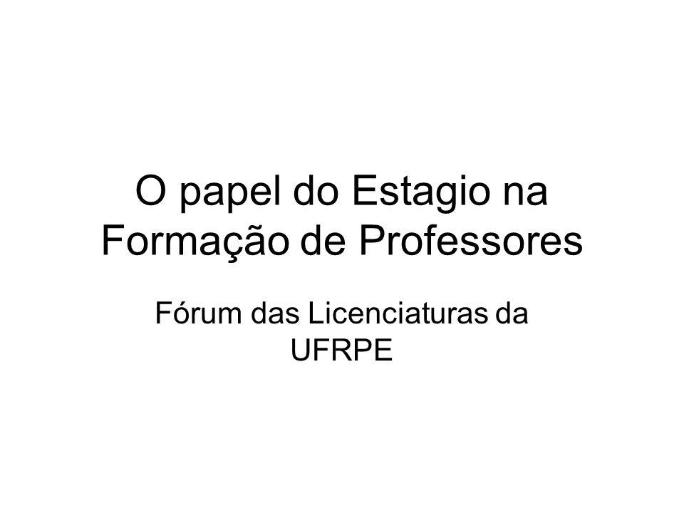 O papel do Estagio na Formação de Professores Fórum das Licenciaturas da UFRPE