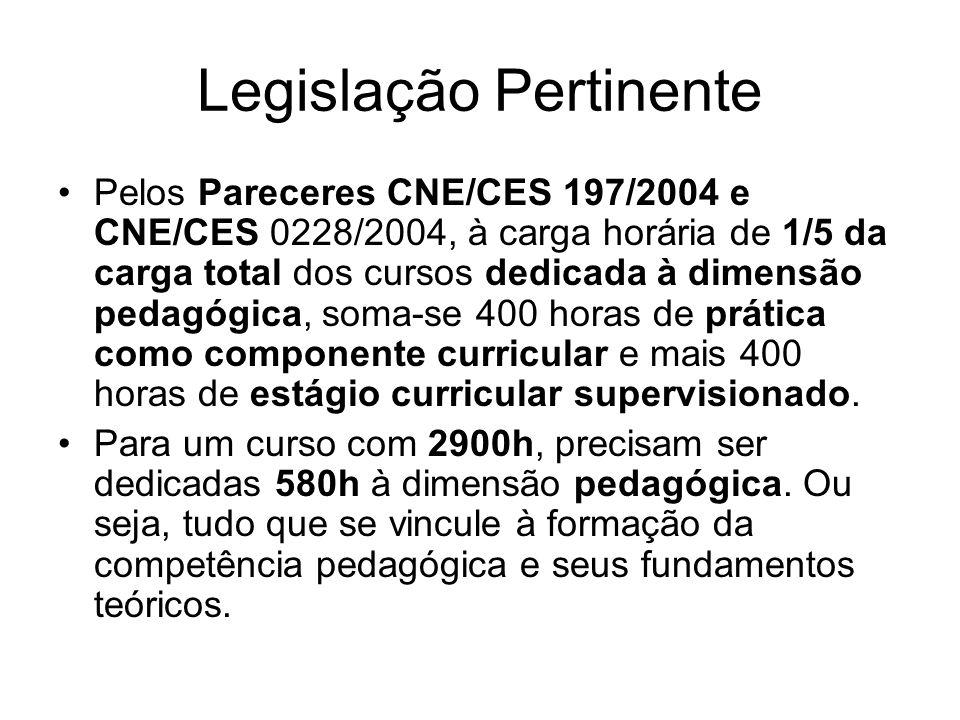 Legislação Pertinente Pelos Pareceres CNE/CES 197/2004 e CNE/CES 0228/2004, à carga horária de 1/5 da carga total dos cursos dedicada à dimensão pedagógica, soma-se 400 horas de prática como componente curricular e mais 400 horas de estágio curricular supervisionado.