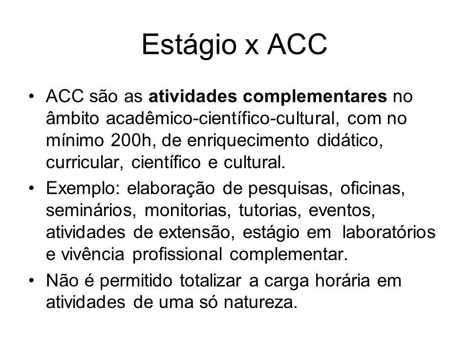 Estágio x ACC ACC são as atividades complementares no âmbito acadêmico-científico-cultural, com no mínimo 200h, de enriquecimento didático, curricular, científico e cultural.