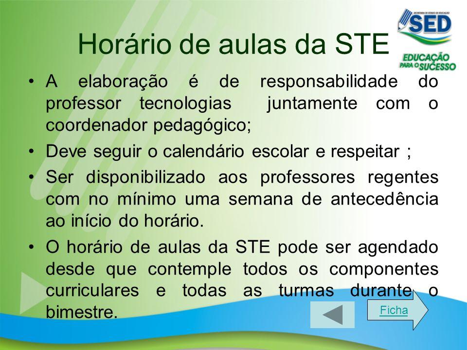 Horário de aulas da STE A elaboração é de responsabilidade do professor tecnologias juntamente com o coordenador pedagógico; Deve seguir o calendário