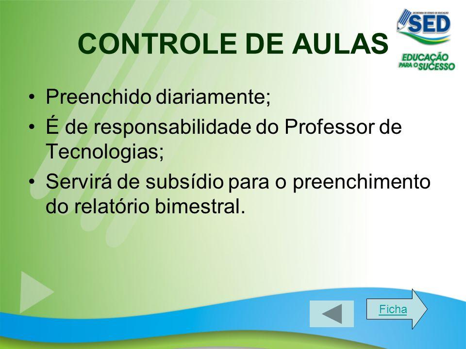 CONTROLE DE AULAS Preenchido diariamente; É de responsabilidade do Professor de Tecnologias; Servirá de subsídio para o preenchimento do relatório bimestral.
