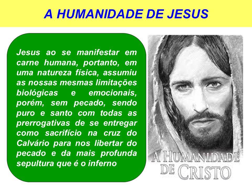 A HUMANIDADE DE JESUS Jesus ao se manifestar em carne humana, portanto, em uma natureza física, assumiu as nossas mesmas limitações biológicas e emoci