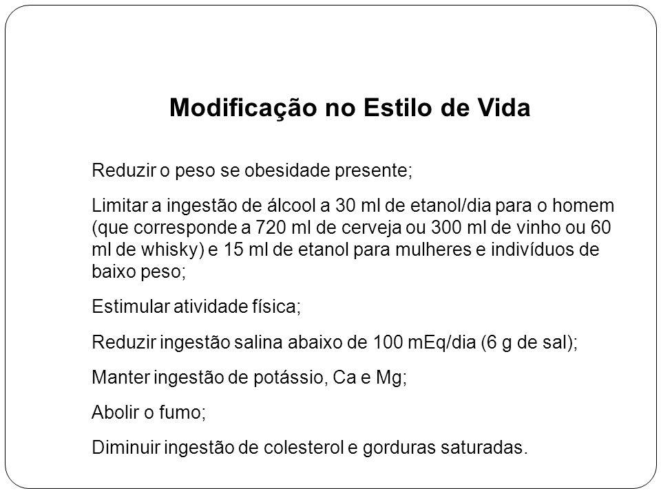 Modificação no Estilo de Vida Reduzir o peso se obesidade presente; Limitar a ingestão de álcool a 30 ml de etanol/dia para o homem (que corresponde a 720 ml de cerveja ou 300 ml de vinho ou 60 ml de whisky) e 15 ml de etanol para mulheres e indivíduos de baixo peso; Estimular atividade física; Reduzir ingestão salina abaixo de 100 mEq/dia (6 g de sal); Manter ingestão de potássio, Ca e Mg; Abolir o fumo; Diminuir ingestão de colesterol e gorduras saturadas.