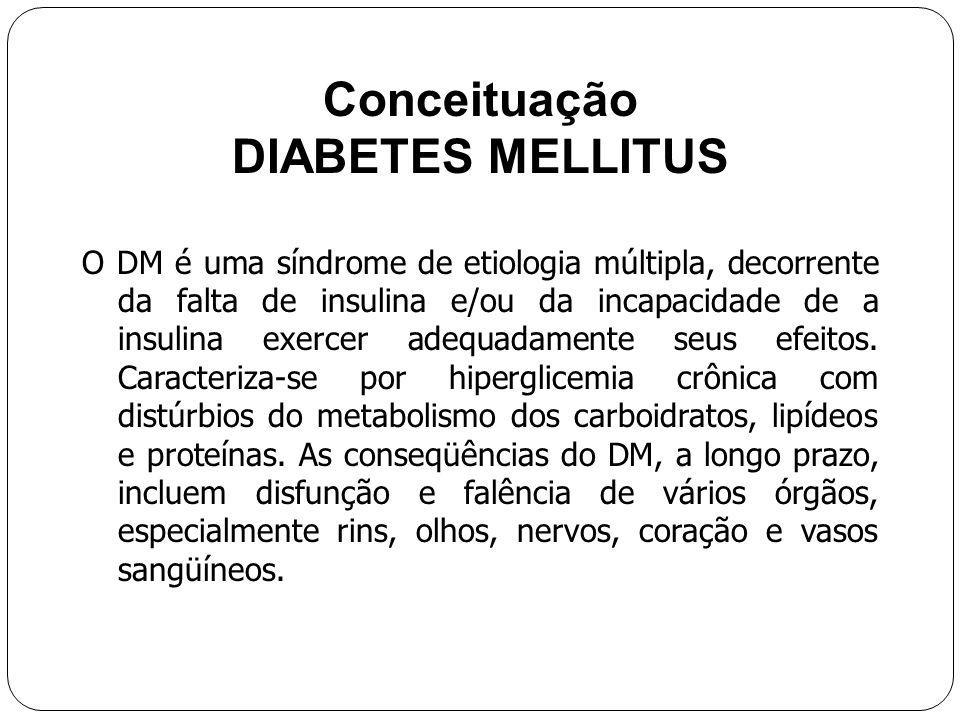 Conceituação DIABETES MELLITUS O DM é uma síndrome de etiologia múltipla, decorrente da falta de insulina e/ou da incapacidade de a insulina exercer adequadamente seus efeitos.