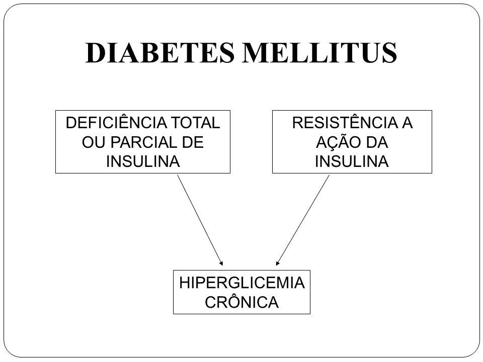 DIABETES MELLITUS DEFICIÊNCIA TOTAL OU PARCIAL DE INSULINA RESISTÊNCIA A AÇÃO DA INSULINA HIPERGLICEMIA CRÔNICA