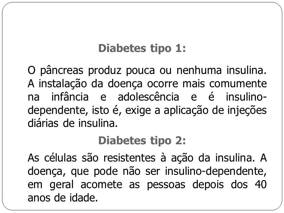 Diabetes tipo 1: O pâncreas produz pouca ou nenhuma insulina.