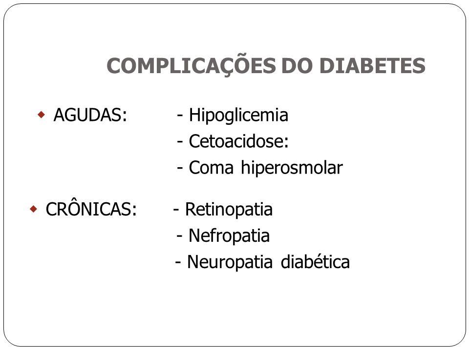 COMPLICAÇÕES DO DIABETES  AGUDAS: - Hipoglicemia - Cetoacidose: - Coma hiperosmolar  CRÔNICAS: - Retinopatia - Nefropatia - Neuropatia diabética