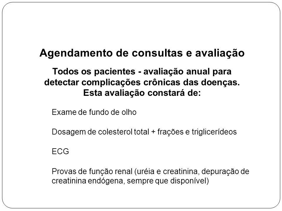 Agendamento de consultas e avaliação Todos os pacientes - avaliação anual para detectar complicações crônicas das doenças.
