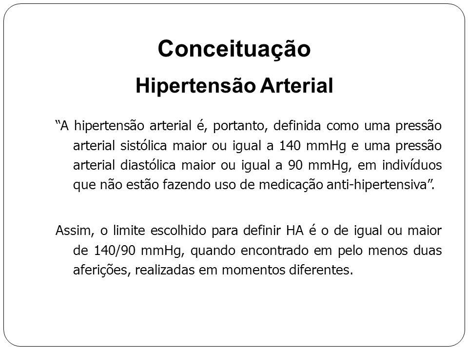 Conceituação Hipertensão Arterial É uma doença crônica, não transmissível, de natureza multifatorial, assintomática (na grande maioria dos casos) que compromete fundamentalmente o equilíbrio dos mecanismos vasodilatadores e vasoconstritores, levando a um aumento da tensão sanguínea nos vasos, capaz de comprometer a irrigação tecidual e provocar danos aos órgãos por eles irrigados. A hipertensão arterial é, portanto, definida como uma pressão arterial sistólica maior ou igual a 140 mmHg e uma pressão arterial diastólica maior ou igual a 90 mmHg, em indivíduos que não estão fazendo uso de medicação anti-hipertensiva .