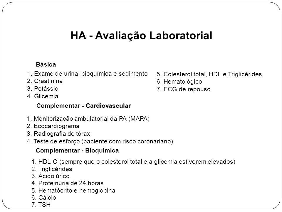 HA - Avaliação Laboratorial 1.Exame de urina: bioquímica e sedimento 2.