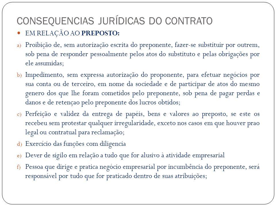 RESPONSABILIDADE DO CONTABILISTA É PESSOAL perante o preponente pelos atos culposos que praticar.
