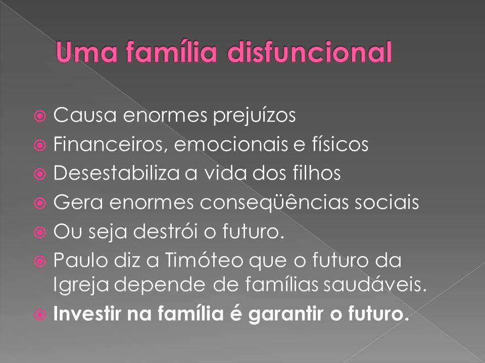  Causa enormes prejuízos  Financeiros, emocionais e físicos  Desestabiliza a vida dos filhos  Gera enormes conseqüências sociais  Ou seja destrói o futuro.