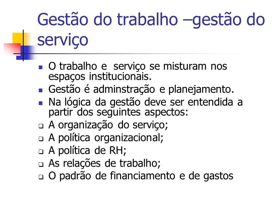 Gestão do trabalho –gestão do serviço O trabalho e serviço se misturam nos espaços institucionais.