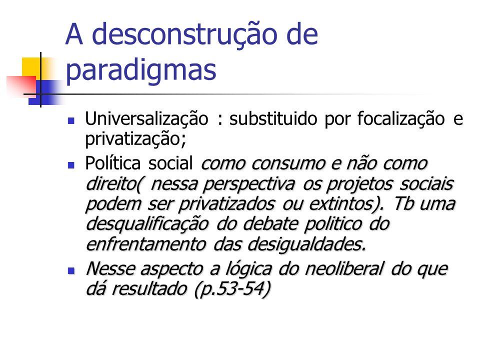 A desconstrução de paradigmas Universalização : substituido por focalização e privatização; como consumo e não como direito( nessa perspectiva os projetos sociais podem ser privatizados ou extintos).