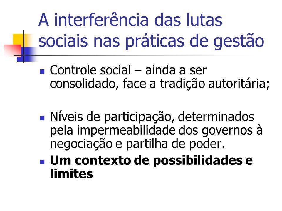 A interferência das lutas sociais nas práticas de gestão Controle social – ainda a ser consolidado, face a tradição autoritária; Níveis de participação, determinados pela impermeabilidade dos governos à negociação e partilha de poder.