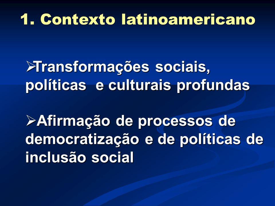 1. Contexto latinoamericano  Transformações sociais, políticas e culturais profundas  Afirmação de processos de democratização e de políticas de inc