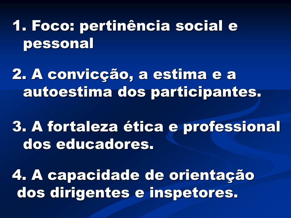 1. Foco: pertinência social e pessonal 2. A convicção, a estima e a autoestima dos participantes. 3. A fortaleza ética e professional dos educadores.