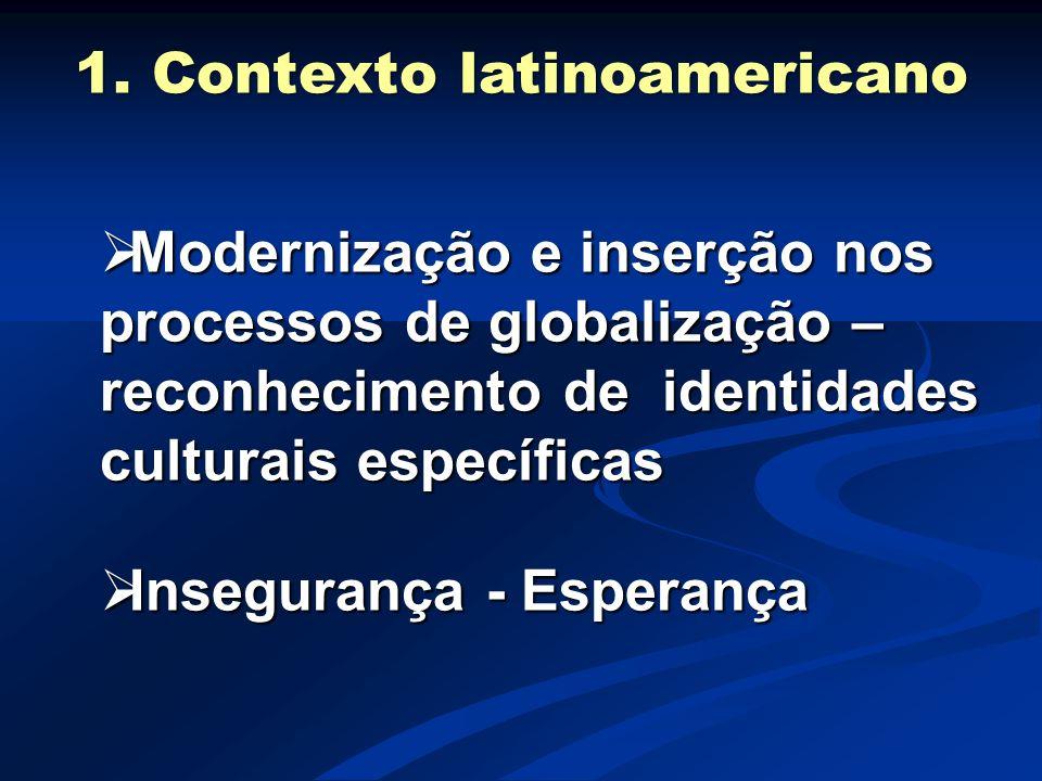 Modernização e inserção nos processos de globalização – reconhecimento de identidades culturais específicas  Insegurança - Esperança 1. Contexto la