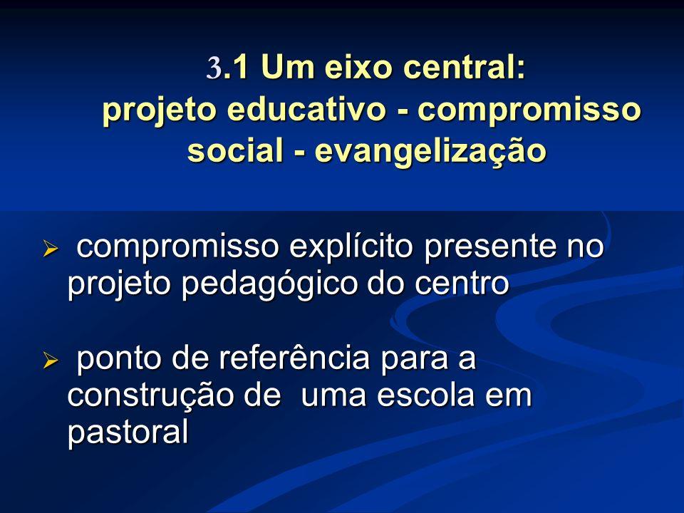 3.1 Um eixo central: projeto educativo - compromisso social - evangelização  compromisso explícito presente no projeto pedagógico do centro  ponto d