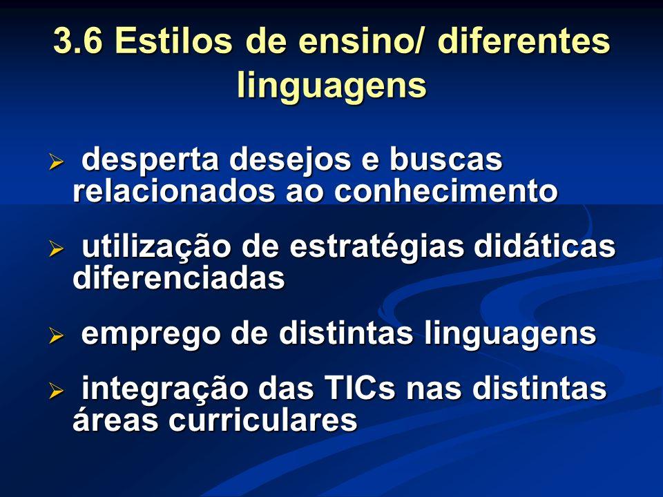 3.6 Estilos de ensino/ diferentes linguagens  desperta desejos e buscas relacionados ao conhecimento  utilização de estratégias didáticas diferencia