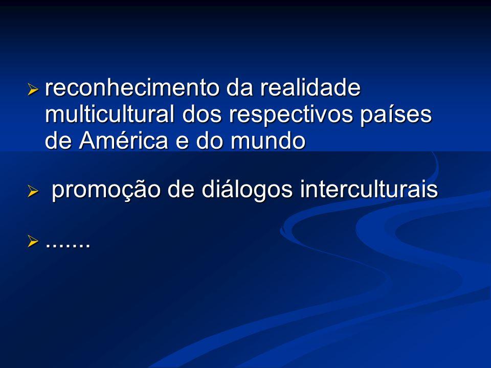  reconhecimento da realidade multicultural dos respectivos países de América e do mundo  promoção de diálogos interculturais .......