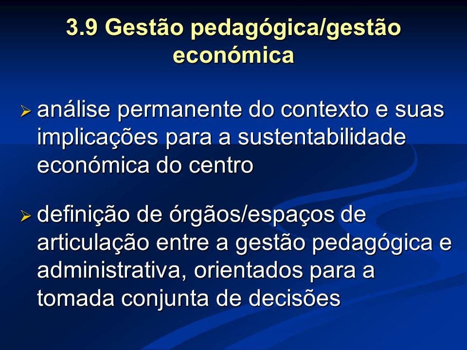 3.9 Gestão pedagógica/gestão económica  análise permanente do contexto e suas implicações para a sustentabilidade económica do centro  definição de