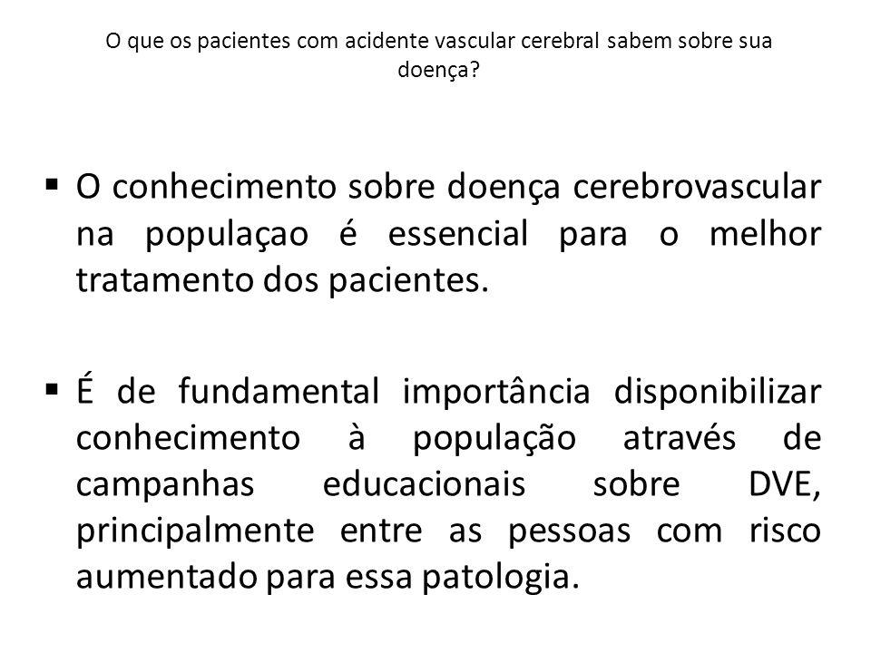 O que os pacientes com acidente vascular cerebral sabem sobre sua doença.