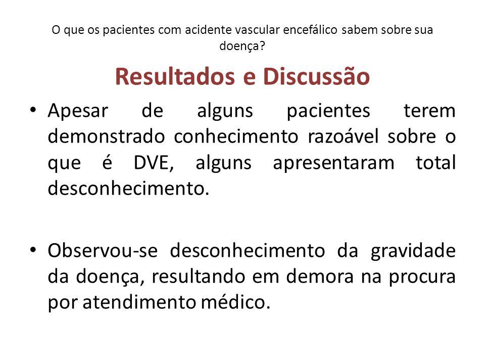 O que os pacientes com acidente vascular encefálico sabem sobre sua doença.