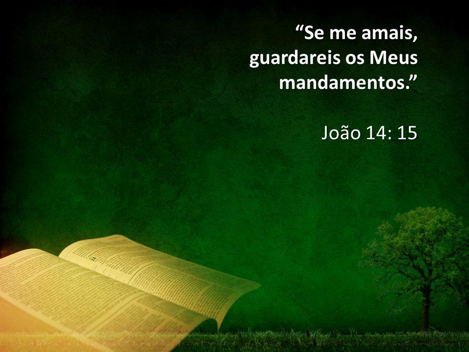 """""""Se me amais, guardareis os Meus mandamentos."""" João 14: 15"""