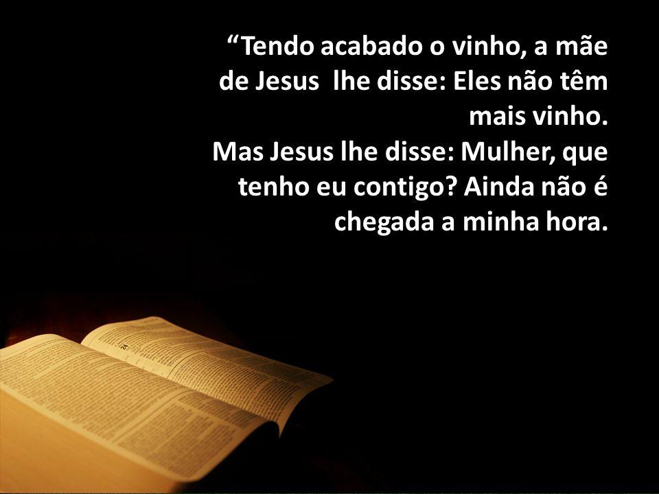 """""""Tendo acabado o vinho, a mãe de Jesus lhe disse: Eles não têm mais vinho. Mas Jesus lhe disse: Mulher, que tenho eu contigo? Ainda não é chegada a mi"""