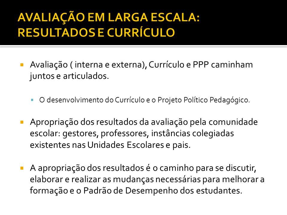  Avaliação ( interna e externa), Currículo e PPP caminham juntos e articulados.  O desenvolvimento do Currículo e o Projeto Político Pedagógico.  A