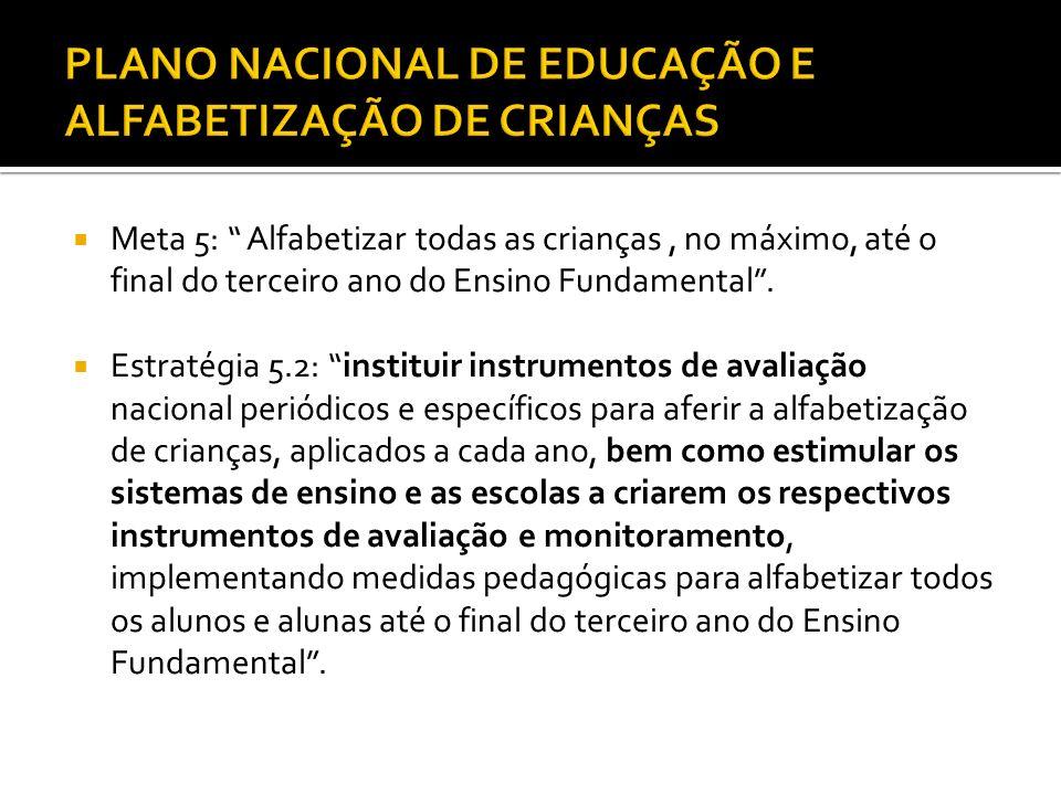""" Meta 5: """" Alfabetizar todas as crianças, no máximo, até o final do terceiro ano do Ensino Fundamental"""".  Estratégia 5.2: """"instituir instrumentos de"""