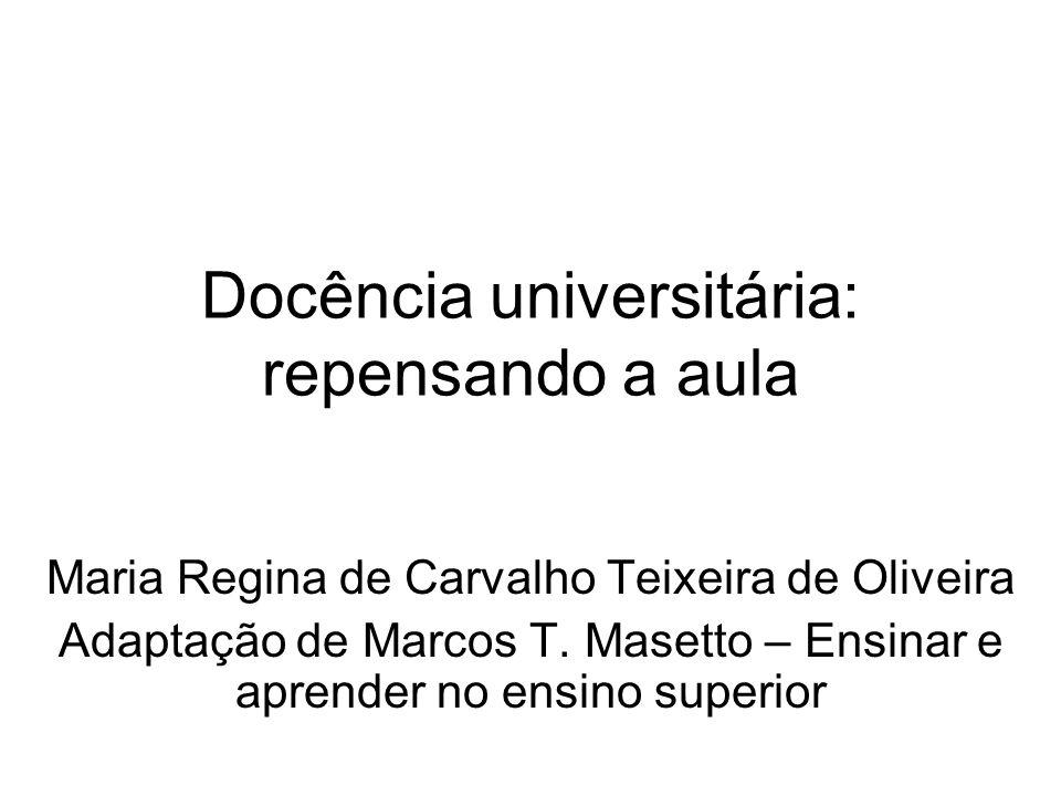 Docência universitária: repensando a aula Maria Regina de Carvalho Teixeira de Oliveira Adaptação de Marcos T.