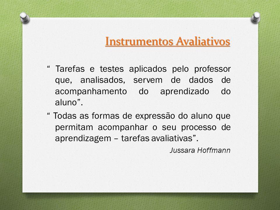 Instrumentos Avaliativos Tarefas e testes aplicados pelo professor que, analisados, servem de dados de acompanhamento do aprendizado do aluno .