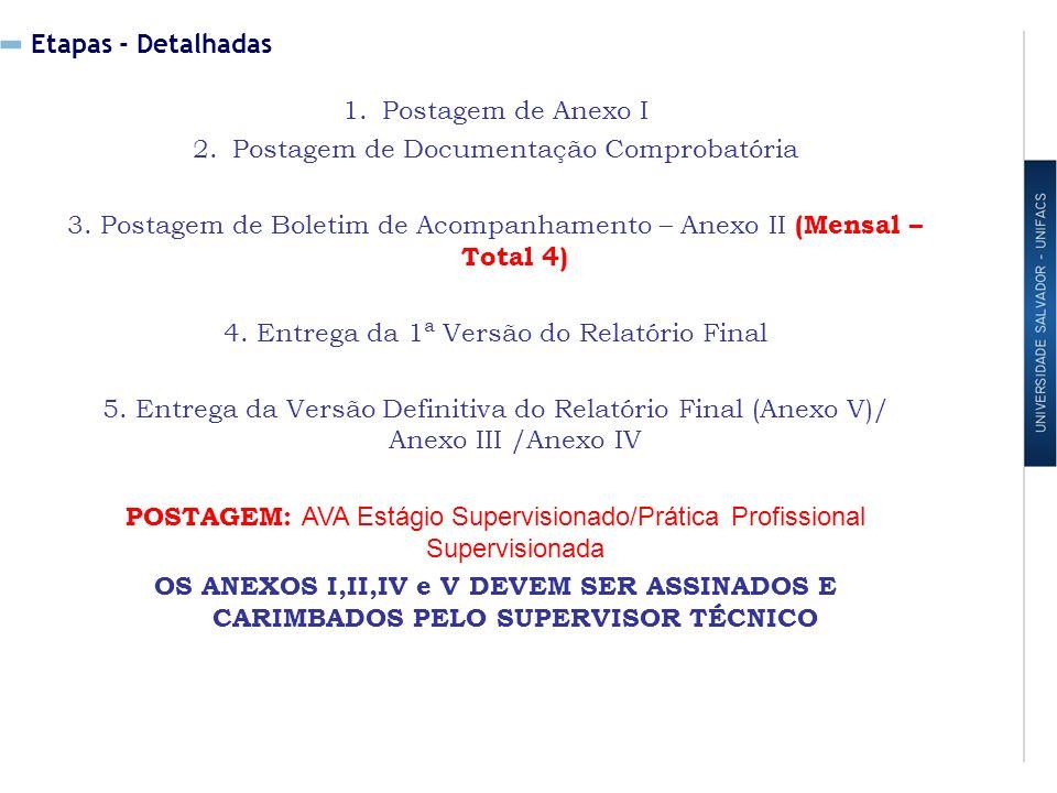 Etapas - Detalhadas 1.Postagem de Anexo I 2.Postagem de Documentação Comprobatória 3.