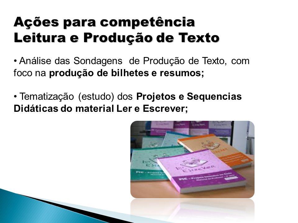 Ações para competência Leitura e Produção de Texto Análise das Sondagens de Produção de Texto, com foco na produção de bilhetes e resumos; Tematização (estudo) dos Projetos e Sequencias Didáticas do material Ler e Escrever;