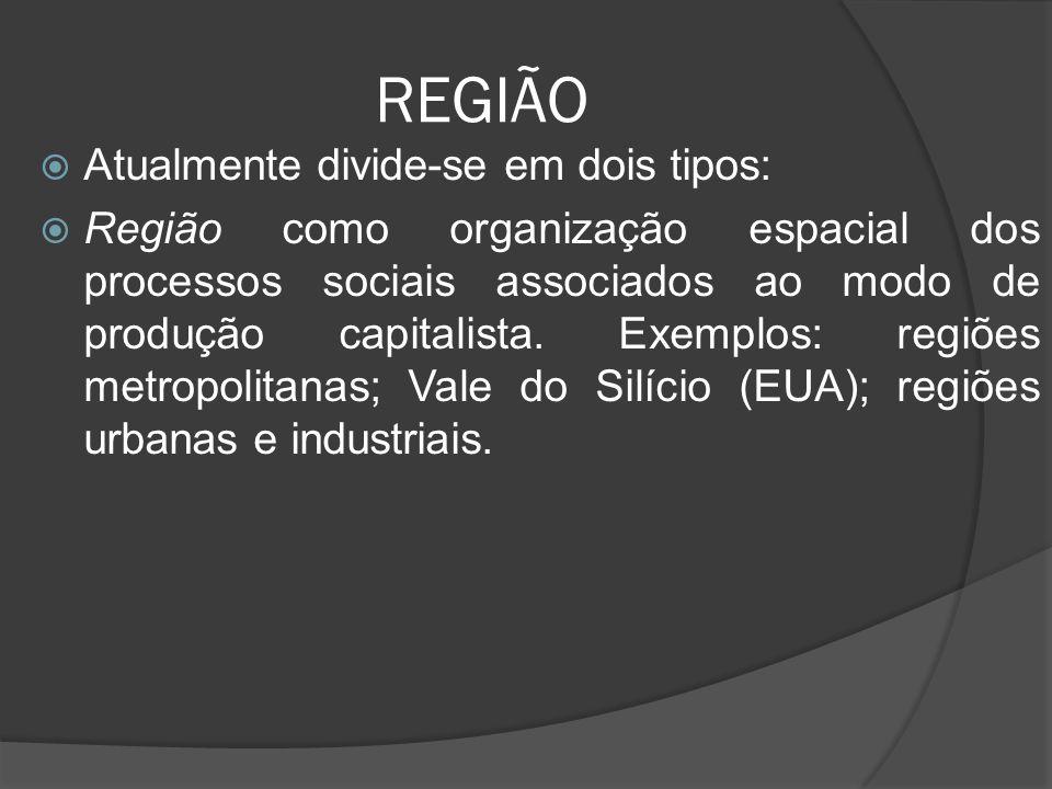 REGIÃO  Atualmente divide-se em dois tipos:  Região como organização espacial dos processos sociais associados ao modo de produção capitalista.