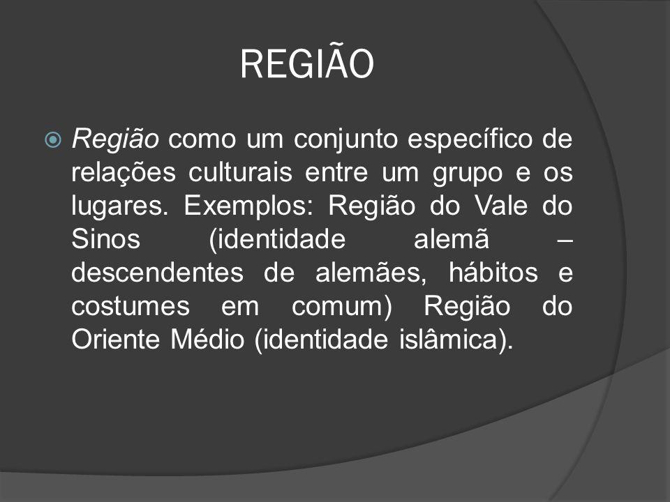REGIÃO  Região como um conjunto específico de relações culturais entre um grupo e os lugares.