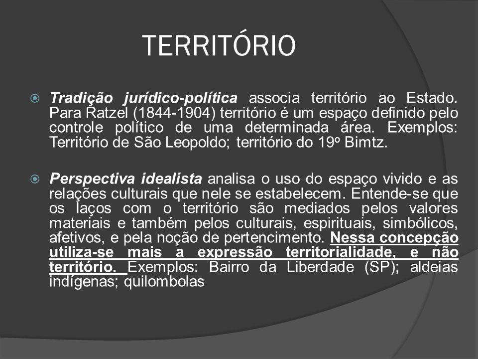 TERRITÓRIO  Tradição jurídico-política associa território ao Estado.