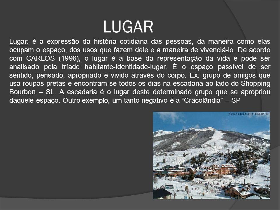 LUGAR Lugar: é a expressão da história cotidiana das pessoas, da maneira como elas ocupam o espaço, dos usos que fazem dele e a maneira de vivenciá-lo.