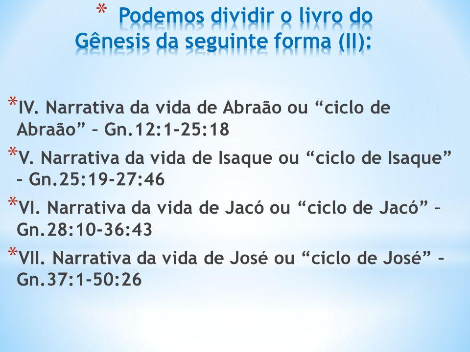 * IV.Narrativa da vida de Abraão ou ciclo de Abraão – Gn.12:1-25:18 * V.